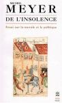 """Couverture du livre : """"De l'insolence"""""""
