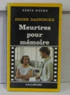 """Couverture du livre : """"Meurtres pour mémoire"""""""