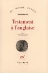"""Couverture du livre : """"Testament à l'anglaise"""""""