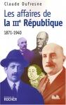 """Couverture du livre : """"Les affaires de la IIIe République"""""""