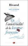"""Couverture du livre : """"De l'universalité de la langue française"""""""